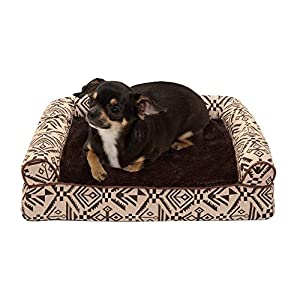 Furhaven Pet Dog Bed – Orthopedic Plush Kilim Southwest Home Decor Traditional Sofa-Style Living Room Couch Pet Bed with Removable Cover for Dogs and Cats, Desert Brown, Small