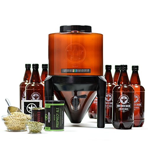 BrewDemon Craft Beer Brewing Kit with Bottles - Conical Fermenter Eliminates Sediment and Makes Great Tasting Home Made Beer - 2 gallon pale ale kit