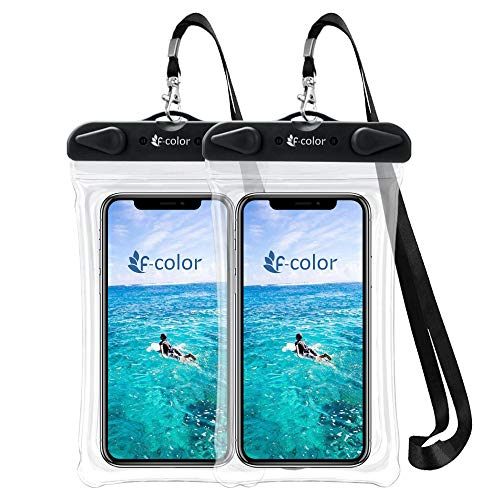 F-color Waterproof Phone Pouch, Universal Waterproof Case PVC Dry Bag for Swimming Boating Skiing Rafting, Compatible with iPhone Xs Max XR 8 7 6S Plus Galaxy S8 S7 Edge S6 Up to 6.7 inch, Black