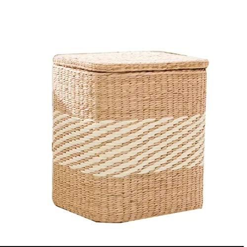 WXYNT Straw Footstool,Fuerte Almacenamiento Otomano,Rush Grass Storage Footstool,Banco De Almacenamiento con Tapa con Bisagras para Dormitorio,Salón-B 41x35x45cm(16x14x18inch)