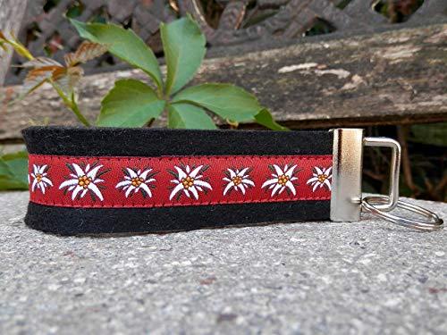 Schlüsselanhänger Taschenanhänger Wollfilz schwarz Webband Edelweiß rot weiß Geschenk