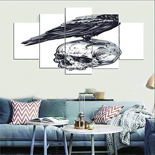 AHJJK Impresión en Lienzo de 5 Paneles Blanco Fondo Pintura Calavera Cuerpo de pájaro para decoración del hogar Sala de Estar 5 Paneles Gran póster de impresión HD (sin Marco) XL(150x80cm)