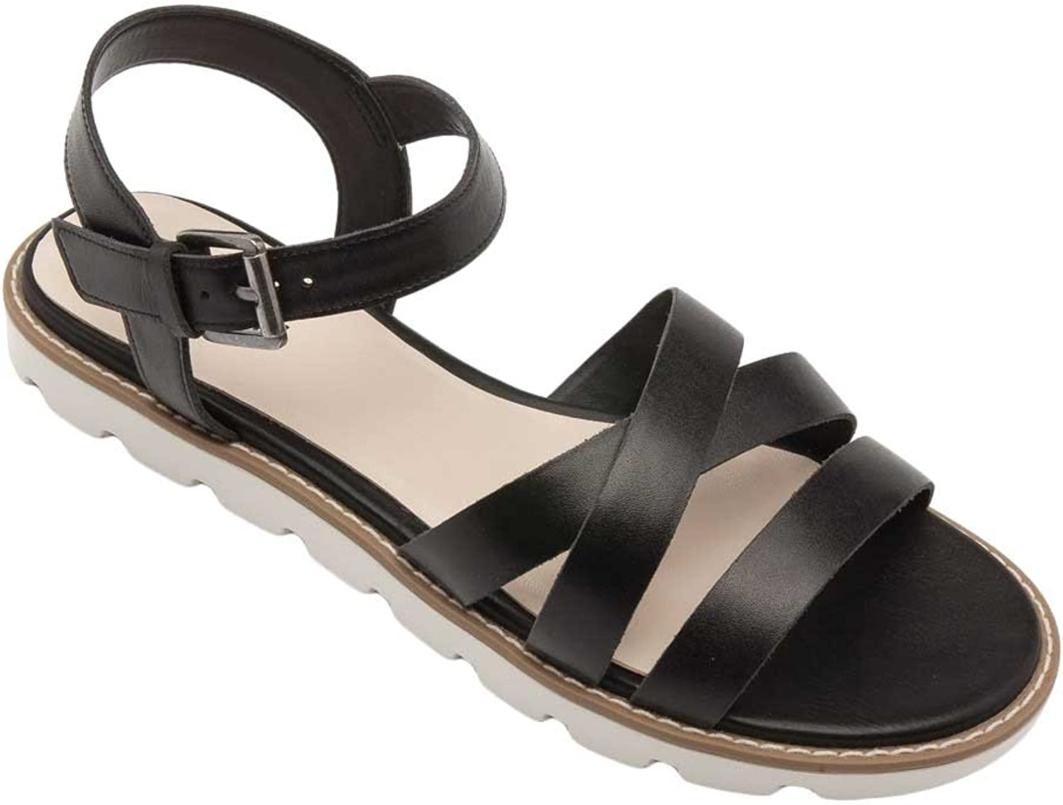 Pic Pay Cabo Women's Sandals - Leather Strappy Flat Sandal Black Leather 7M