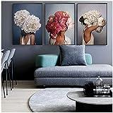 HANSHUIHONG Druck auf leinwand Blume Federn Frau Abstrakte Leinwand Malerei Wandkunst Druckplakat Bild Dekorative Malerei Wohnzimmer Dekoration 60x80 cm x 3 stücke Kein Rahmen