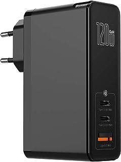 Baseus Cargador USB C de 120W GaN, Cargador de pared USB 3.0 de Carga Rápida con Cable Tipo C Dual de 100W, Cargador de re...