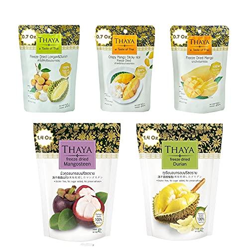 Thaya Premium Variety Mix Freeze Dried Durian Mangosteen Longan Durian Mango Sticky Rice Bundle, Pack of 5