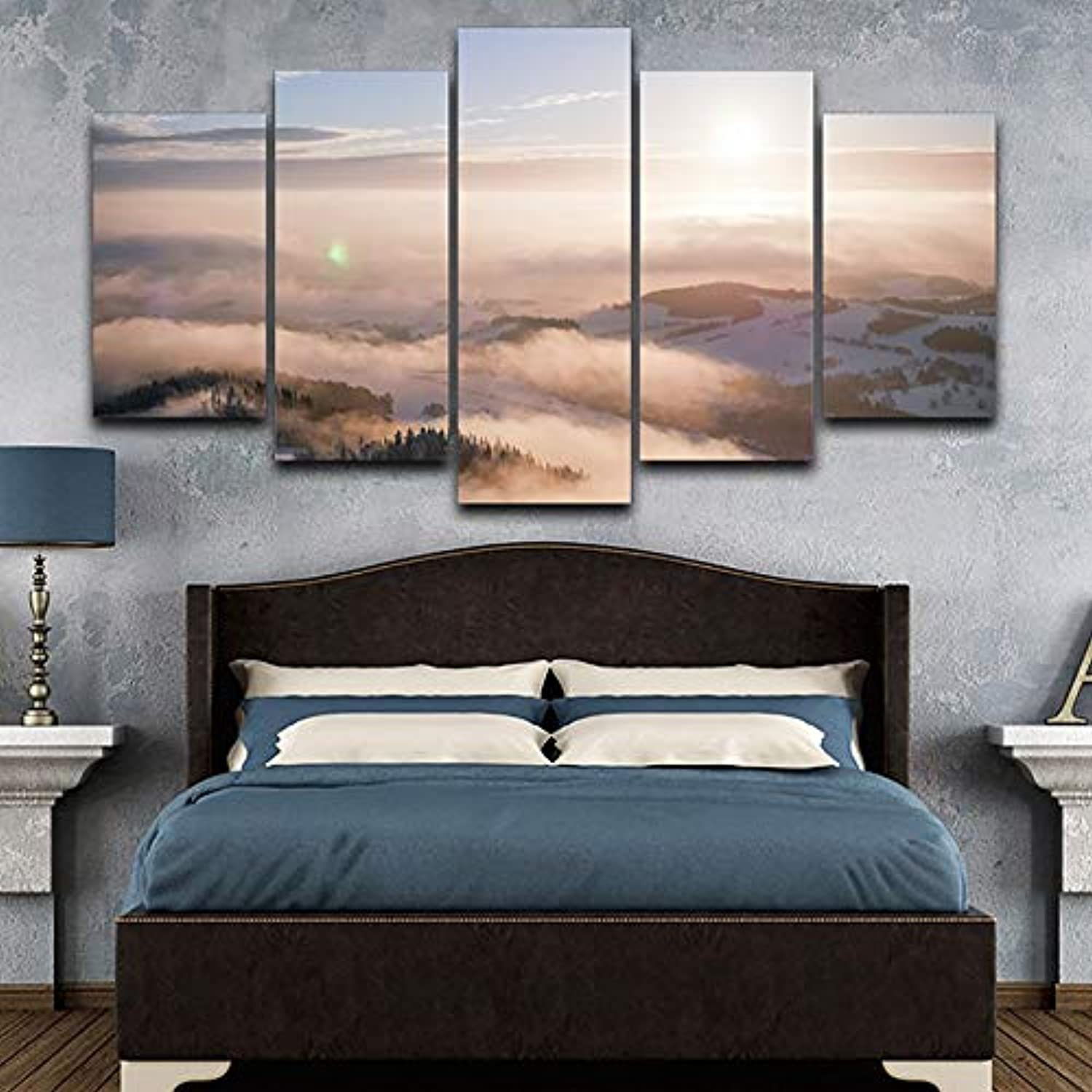 Art Picture Home Decoration Poster Framework 5 Panel Foggy Sunshine Snow Mountain Modern Wall Living Room HD Printed Painting