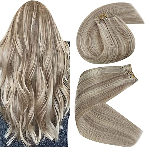 Sunny Sew in Blonde Hair Extensions Weft Highlighted Dirty Blonde Mix...