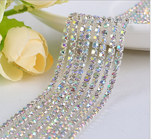 Honbay 10 Yard Crystal Rhinestone Close Chain Trim Sewing Craft 2.5mm Silver Color (AB)