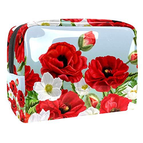 TIZORAX Kosmetiktasche mit roten Mohnblumen und weißen Anemonen, PVC, Make-up-Tasche, Reise-Toilettenartikel, praktischer Beutel, Organizer für Frauen