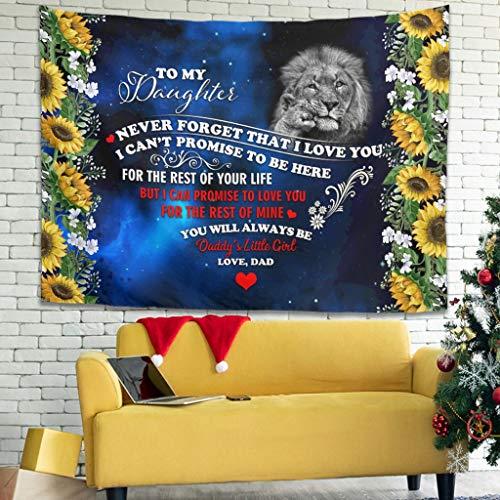 superyu Lion Baby To My Daughter - Juego de cama de tapiz con arte de pared para sala de estar o dormitorio, color blanco