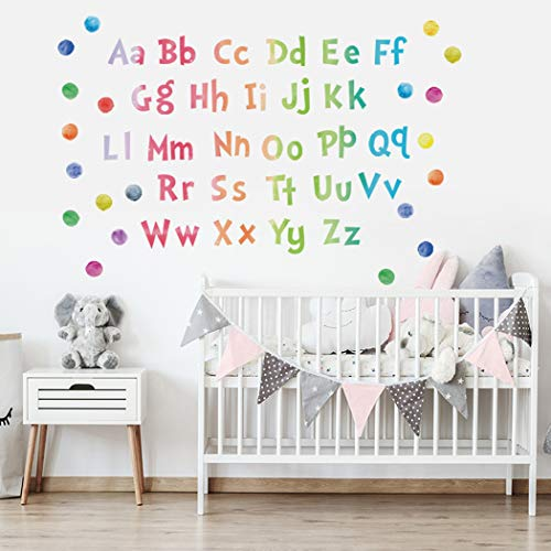 Poorminer Watercolour Alphabet ABC Wall Stickers, Colourful abc Poster for Toddlers Wall Decals,Removable Alphabet Letter Wall Murals for Living Nursery Bedroom Room Classroom Playroom Kids Wall Decor