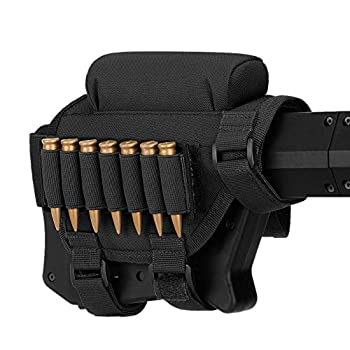 Huntvp Rifle Buttstock Tactical Rifle Cheek Rest Holder Hunting Shooting Tactical Cheek Rest Pad Ammo Pouch with 2 Molle Pouch