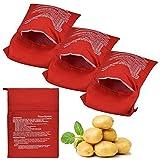 YUSHIWA 4 PCS Bolsa de Papas para Microondas Reutilizable Bolsa de Poliéster para Hornear Mantente Hidratado Patatas Microondas para Mazorca de Maíz, Batata,(Rojo, 25 x 19 cm)