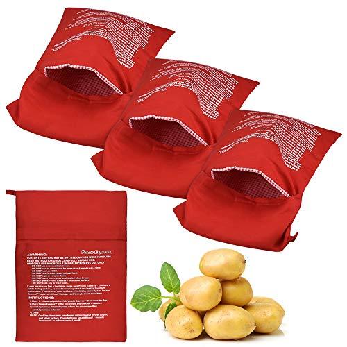 YUSHIWA 4 Stück Kartoffelbeutel Mikrowelle Kartoffeln Tasche Rot Kartoffel Express Beutel Wiederverwendbar Mikrowelle Beutel Waschbar Mikrowellenherd Kochtasche Backen Werkzeug