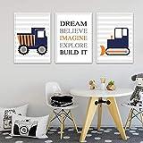 Excavadora Camión Vehículo Coche Cartel para niños Citas de guardería Impresión de arte de pared Cuadro de lienzo Pintura Decoración nórdica para habitación de niños | 35x50cmx3Pcs | Sin marco