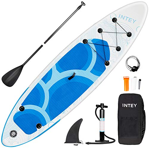 INTEY Tabla Paddle Surf Hinchable 305×76×15cm, Sup Paddle Remo Ajustable, Tabla Stand Up Paddle Board, Bomba de Doble, Seguridad – Modelo Onaga