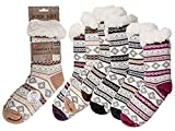 Susis Fashion Shop Kuschelige warme Hüttensocken mit Teddyfutter mit rutschfester ABS Sohle (Hellbraun)