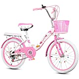 Variable plegable bicicleta de la velocidad del rosa de niños de los niños de la bici de 16' 18' 20' 22' bicicleta plegable de Estudiantes de la Escuela de pedal con estabilizadores y cesta,18in
