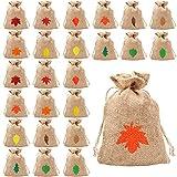 24 Sets Natural Burlap Favor Bags Fall Leaf Print Hessian Favour Bags Rustic...