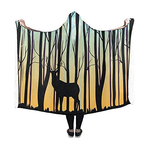 JOCHUAN Couverture à Capuche Deer Forest Morning Sky Couverture 60x50 Pouces Comfotable Wrap à Capuche