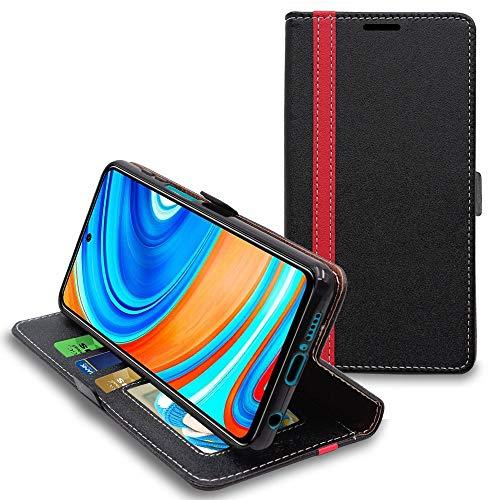 ebestStar - Funda Compatible con Xiaomi Redmi Note 9 Pro / 9S Carcasa Cartera Cuero PU, Funda Libro Billetera Ranuras Tarjeta, Función Soporte, Negro/Rojo [Phone: 165.8 x 76.7 x 8.8 mm, 6.7'']