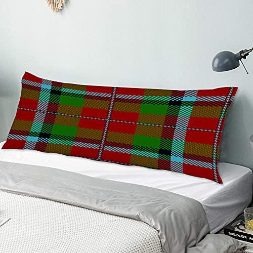 Funda de almohada para el cuerpo Escocia Escocés Clan Macnachtan Tartan Plaid Macnaughton Funda de almohada larga de 50 cm x 135 cm, suave y acogedora, lujosa y sedosa microfibra con cremalleras