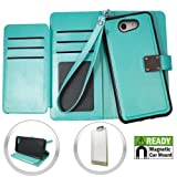 Luckiefind Compatible Samsung Galaxy J3 Prime (T-Mobil. Metro-PCS), Galaxy Express Prime 2 (at&T), Galaxy J3 Luna Pro 4G LTE (Straight Talk). Flip Wallet Credit Card Cover Case (Wallet Teal)