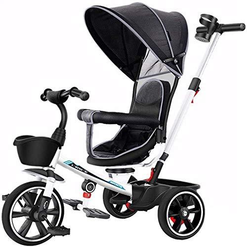 Sillas de paseo Los niños de 4 triciclos triciclos En 1 Trike Trike cochecitos for niños de 2-6 niños Triciclo Niño Bicicleta del niño del Asiento Ajustable con el pabellón Estribo de Empuje Carritos