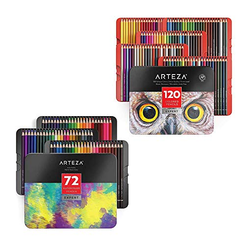 Arteza Colored and Watercolor Pencils Bundle for Artist