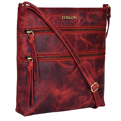 Estalon Leather Crossbody Purse for Women- Small Crossover Cross Body Bag Long Over the Shoulder Sling Womens Purses and Handbags (Jam)