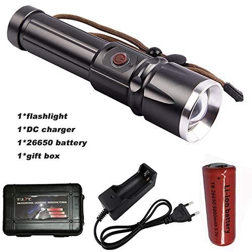 D, XML T6 6000lums : CREE XM-L2 T6 LED X900 9000 lumens lampe de poche torche Zoomable lampe Flash Light Lanterna lampe de poche pour 18650/26650 batterie