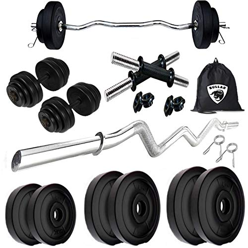 BULLAR Home Gym Combo, Home Gym Equipments for Men with 3Ft Curl Rod, 1Pair Dumbbell Rods, PVC Dumbbell Plates, Exercise Set with Gym Bag (20KG)
