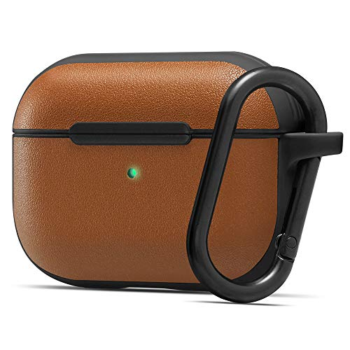 CYRILL by Spigen Leather Brick Designed for AirPods Pro Case (2019) Premium Vegan Leather with Soft TPU (LED visible) - Saddle Brown