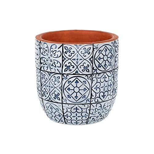 Parlane Salina Keramik-Blumentopf, rund, mediterrane Fliesen, Blumentopf, 15 cm, Blau