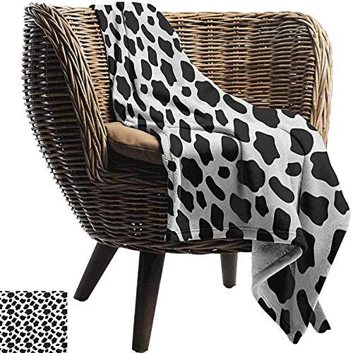 Ducan Lincoln Blanket Furry Flanell Fleece Decke Kuh Print,Rinderhaut Muster Mit Verstreuten Flecken Tierhaut Plain Und Weide Print,Home,Couch,127x102 cm