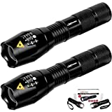 LuxPower Tactical V1000 LED Flashlight [2 PACK] – Best High Lumen Handheld Light - Portable, Zoomable, Water & Shock Resistant - Ideal for Outdoors, Home, Emergency, or Gift-Giving