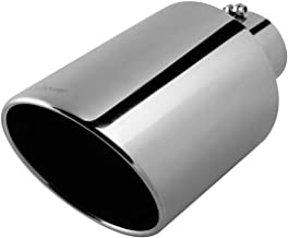 """Upower Universal 4 Inch Inlet 10"""" Outlet Exhaust Tip 18"""" Length Mirror Polished 304# Tail Pipe Bolt-On 45 Degree Angle Cut"""