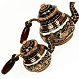 Turkish TeaPot Tea Kettle for Stovetop as Pots Set - Handmade 100% Copper Stainless for Serving and Drinking Vintage Housewarming Gift 33.8 fl - 16.9 fl