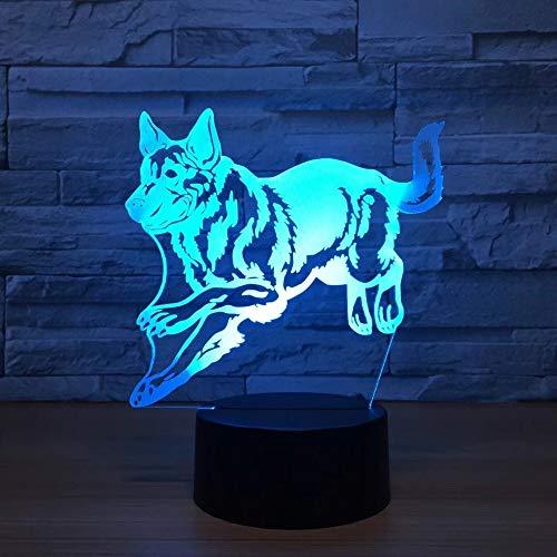 Pastor alemán Stray Dog Night Light Holograma Luz Decorativa Lámpara de Mesa Colorida Regalo de cumpleaños para Amigos de los niños