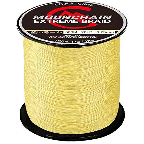 Mounchain Geflochtene Angelschnur, 500 m, 4 Stränge, abriebfest, geflochtene Schnur, super stark, 100 % Polyethylen, empfindliche Angelschnur, gelb, 9 kg