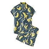 Herren Sommer Kurzarm Strand Button Down Printed Shirt Set 2-teilig Oufit Hawaii Aloha Shirt Set Gr....