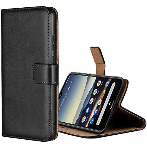 Aopan Nokia 6.2 Hülle, Flip Echt Ledertasche Handyhülle Brieftasche Schutzhülle für Nokia 6.2, Schwarz