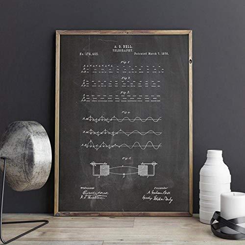 Morsecode Patentdrucke Morsecode Schlüssel Wandkunst Telegramm Poster Militär Wanddekor Vintage Blaupause Leinwand Malerei Geschenk 32x40inch (80x100cm)