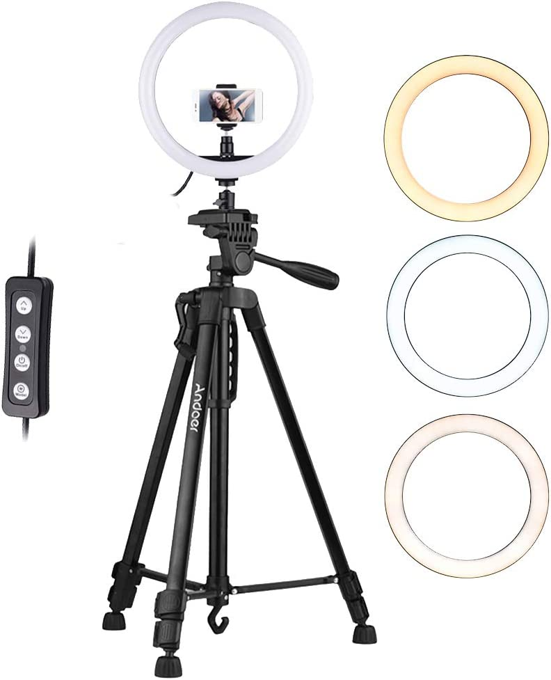 New product Andoer 12 Inch LED Ring Light Phone with Tripod discount Holder Stand Dim