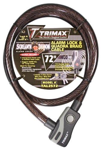 Trimax TAL2572 6' x 25 mm Alarm Lock and Quadra-Braid Cable, Black