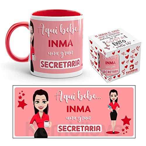 Kembilove Taza de Café de la Mejor Secretaria del Mundo Personalizada con el Nombre – Taza de Desayuno para la Oficina – Taza de Café y Té para Profesionales – Taza Impresa para Secretarias