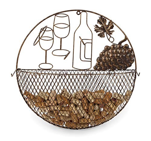 Metal Wall Hanging Wine Glass Rack Cork Caddy by Picnic Plus 195D x 65H