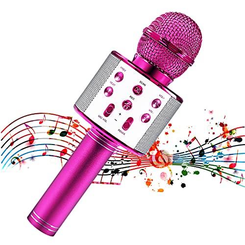 Microfono per bambini, microfono per bambini per cantare, microfono Bluetooth senza fili con altoparlante, macchina per karaoke per bambini con microfono portatile (pink)