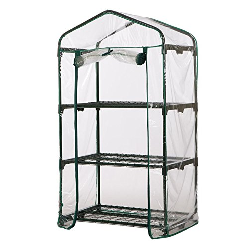 CCChaRLes 69X49X126Cm Apex Roof 3-Tiers Garden Greenhouse Hot Plant House Shelf Shed Clear Pvc Cover